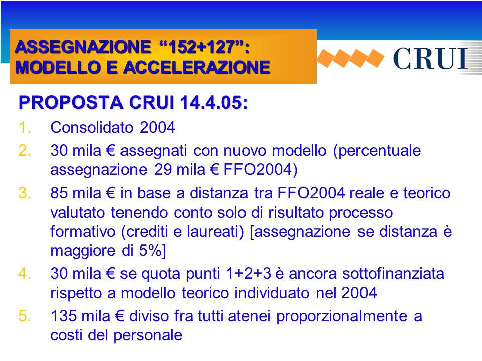 FFO 2005: AMBITI DI ASSEGNAZIONE QUOTE NON CONSOLIDABILI INTERVENTI PER OBBLIGAZIONI PRECEDENTEMENTE ASSUNTE 10 mil.