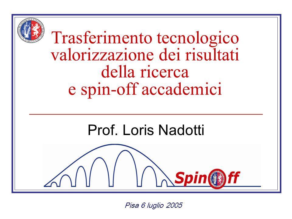 Trasferimento tecnologico valorizzazione dei risultati della ricerca e spin-off accademici Prof.