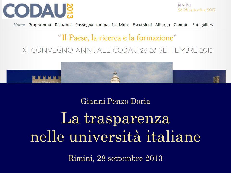 Gianni Penzo Doria La trasparenza nelle università italiane Rimini, 28 settembre 2013