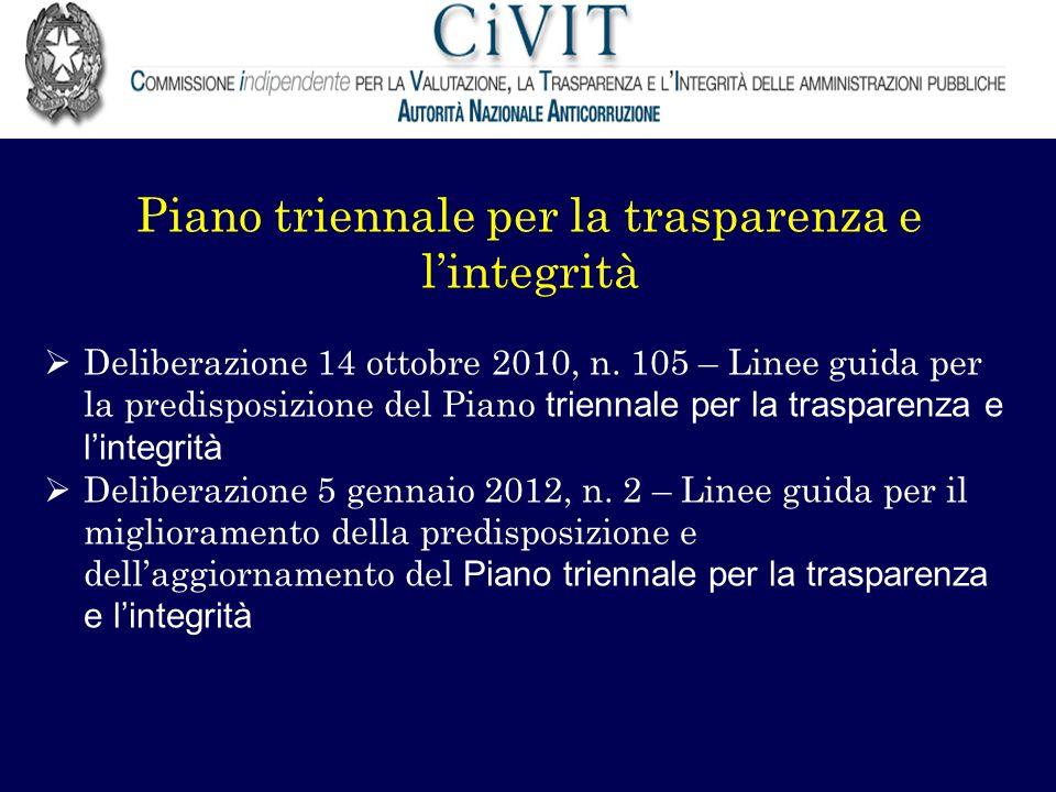 Piano triennale per la trasparenza e lintegrità Deliberazione 14 ottobre 2010, n. 105 – Linee guida per la predisposizione del Piano triennale per la