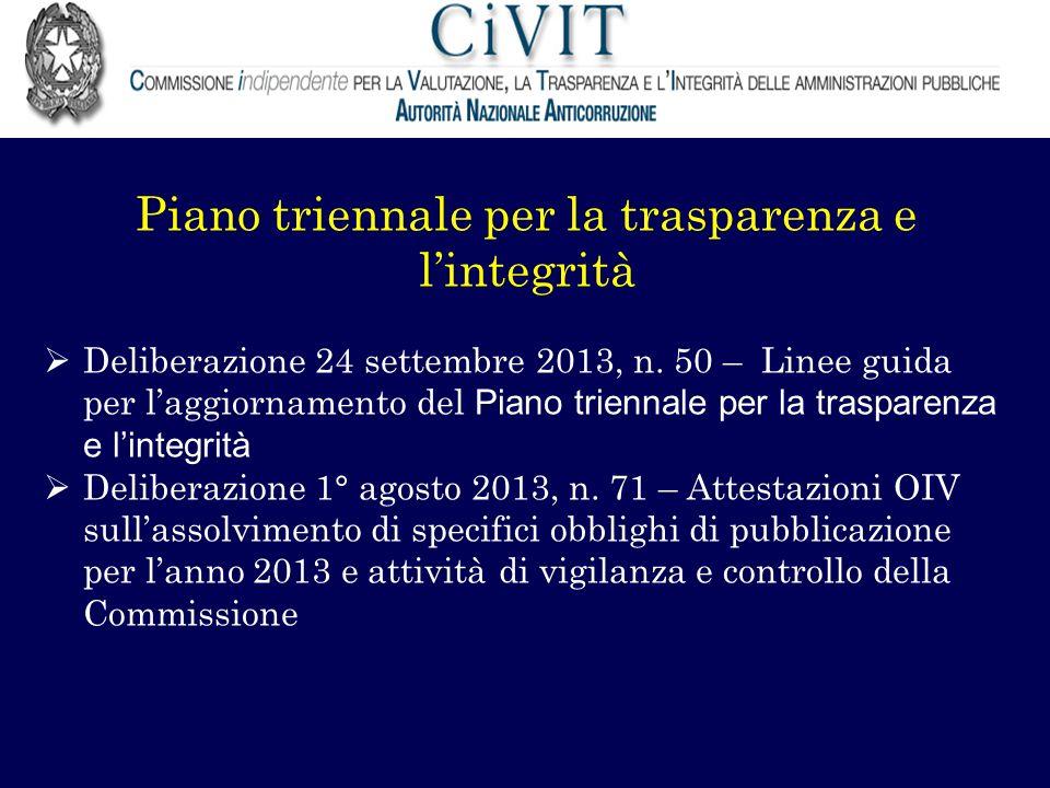 Piano triennale per la trasparenza e lintegrità Deliberazione 24 settembre 2013, n. 50 – Linee guida per laggiornamento del Piano triennale per la tra