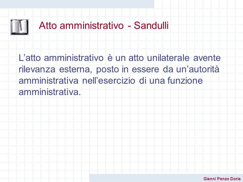 Gianni Penzo Doria Atto amministrativo - Sandulli Latto amministrativo è un atto unilaterale avente rilevanza esterna, posto in essere da unautorità a