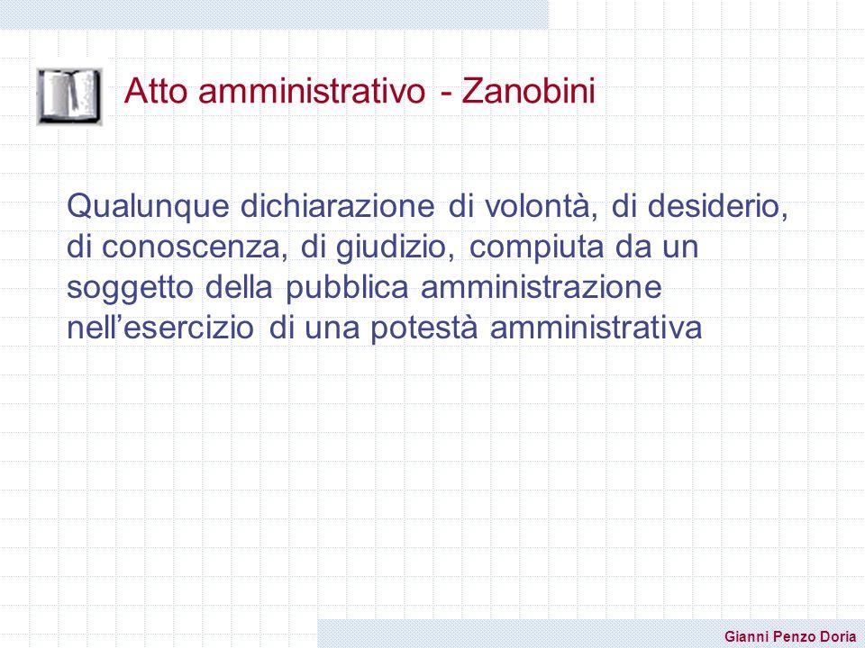 Gianni Penzo Doria Atto amministrativo - Zanobini Qualunque dichiarazione di volontà, di desiderio, di conoscenza, di giudizio, compiuta da un soggett