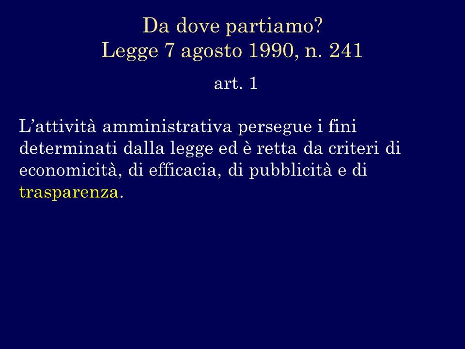art. 1 Lattività amministrativa persegue i fini determinati dalla legge ed è retta da criteri di economicità, di efficacia, di pubblicità e di traspar