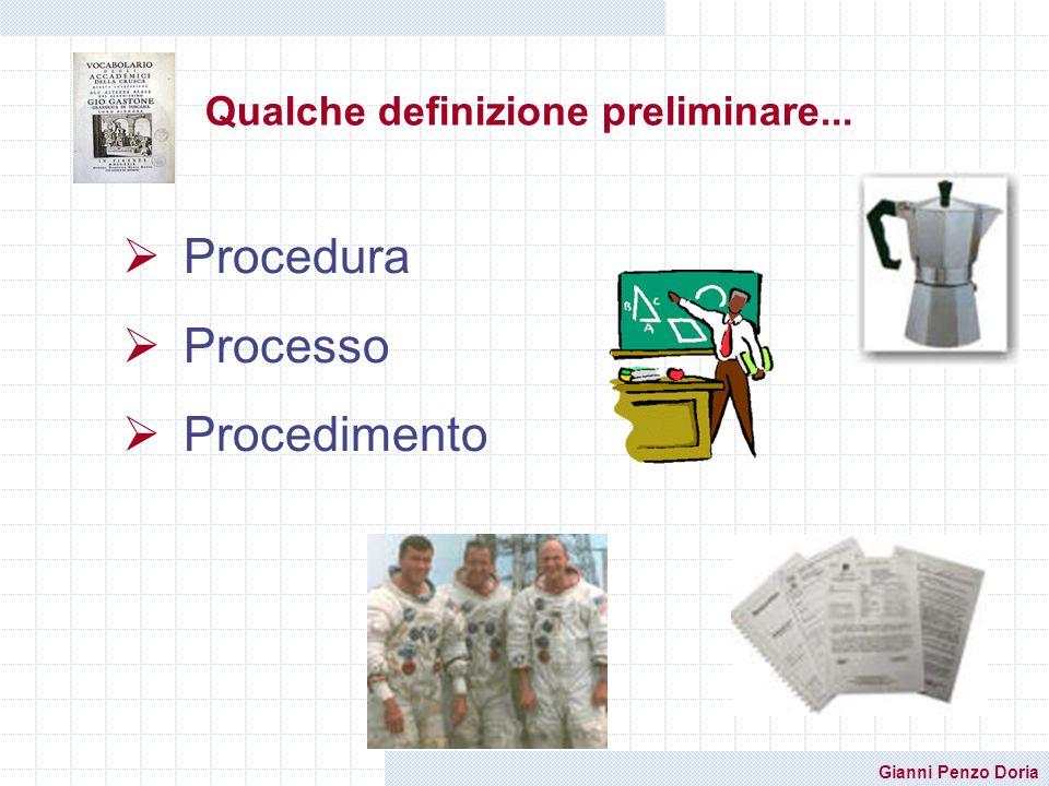 Gianni Penzo Doria Qualche definizione preliminare... Procedura Processo Procedimento