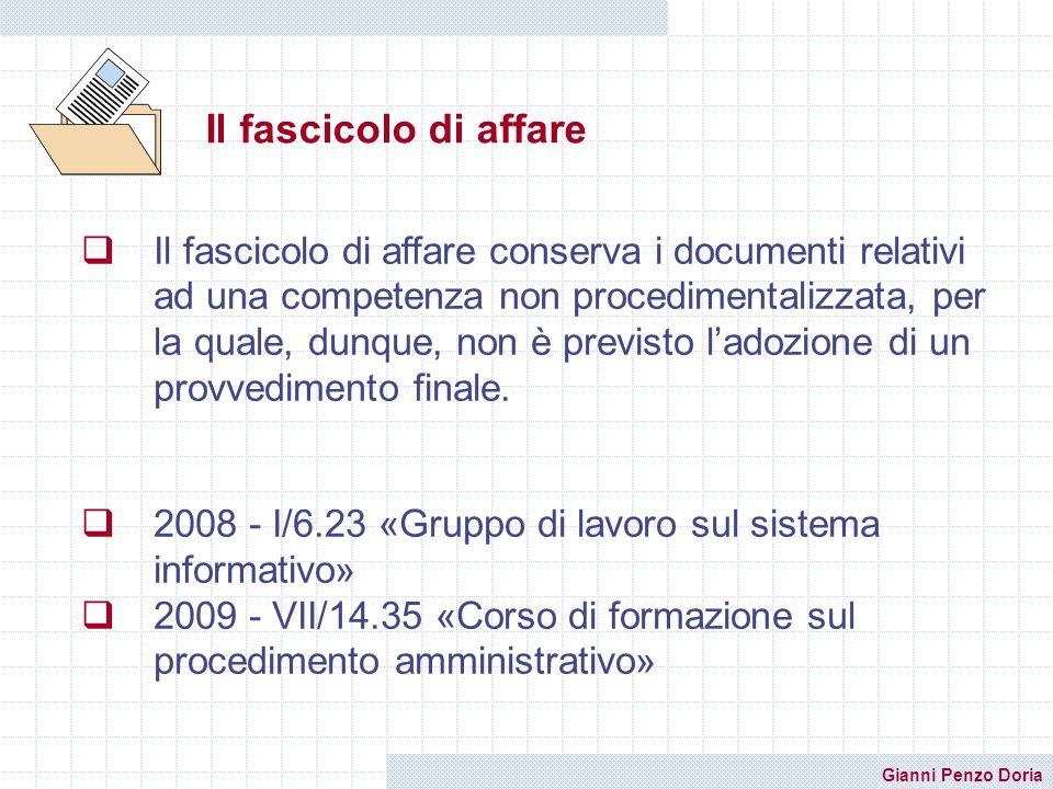 Gianni Penzo Doria Il fascicolo di affare Il fascicolo di affare conserva i documenti relativi ad una competenza non procedimentalizzata, per la quale