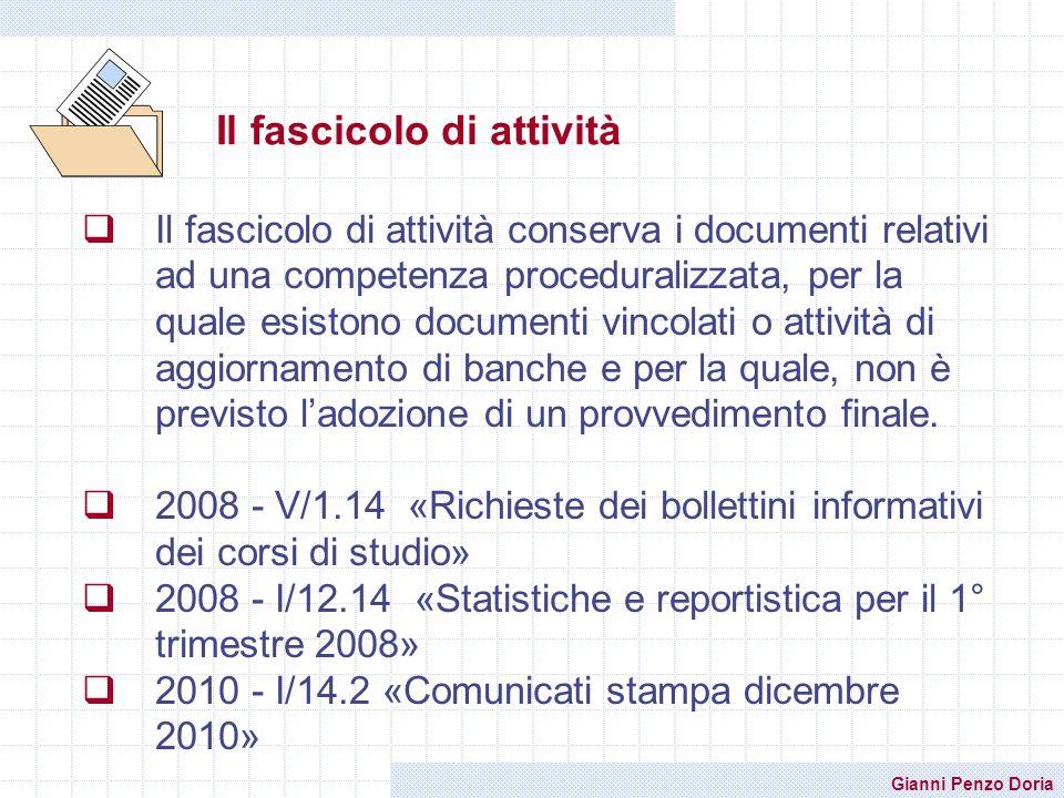Gianni Penzo Doria Il fascicolo di attività Il fascicolo di attività conserva i documenti relativi ad una competenza proceduralizzata, per la quale es