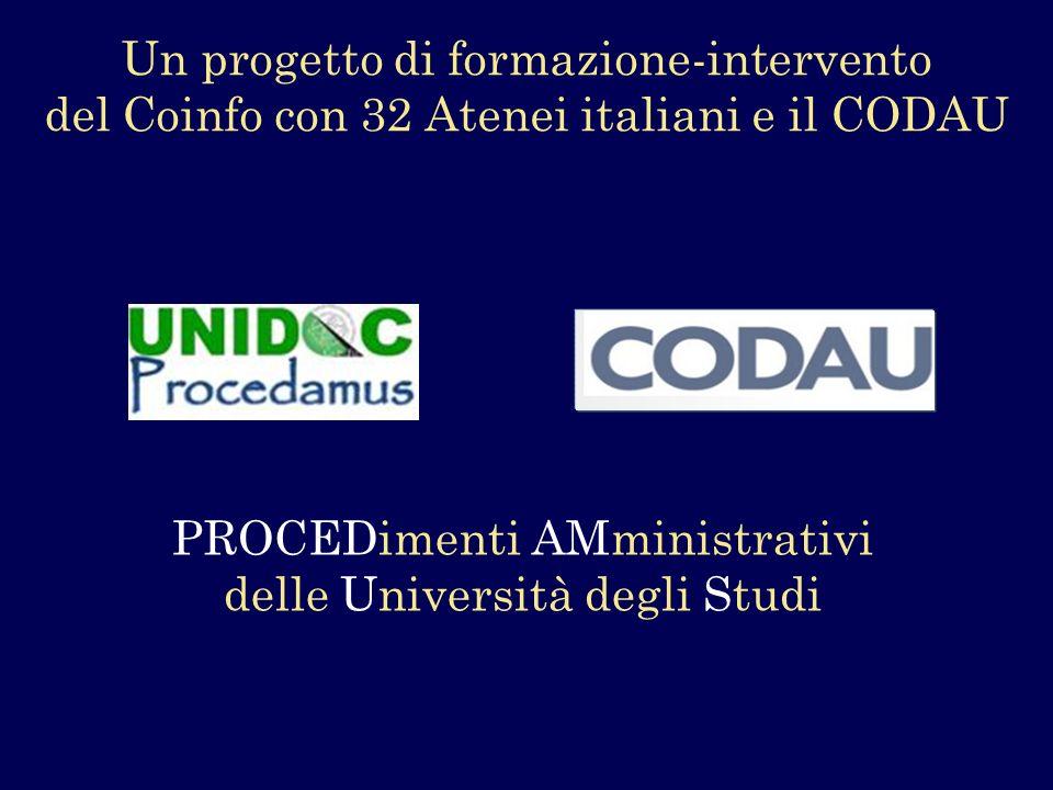 Un progetto di formazione-intervento del Coinfo con 32 Atenei italiani e il CODAU PROCEDimenti AMministrativi delle Università degli Studi