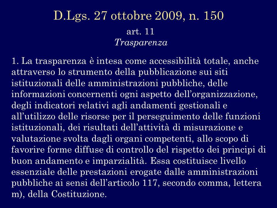 art. 11 Trasparenza 1. La trasparenza è intesa come accessibilità totale, anche attraverso lo strumento della pubblicazione sui siti istituzionali del