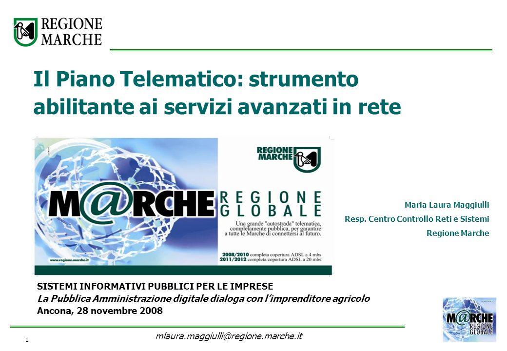 1 SISTEMI INFORMATIVI PUBBLICI PER LE IMPRESE La Pubblica Amministrazione digitale dialoga con limprenditore agricolo Ancona, 28 novembre 2008 Maria L