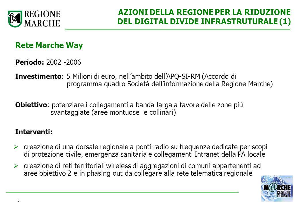 6 AZIONI DELLA REGIONE PER LA RIDUZIONE DEL DIGITAL DIVIDE INFRASTRUTURALE (1) Rete Marche Way Periodo: 2002 -2006 Investimento: 5 Milioni di euro, ne