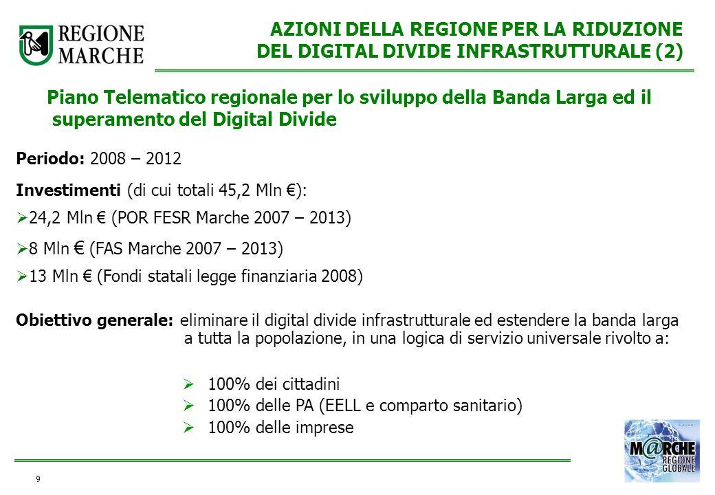 9 AZIONI DELLA REGIONE PER LA RIDUZIONE DEL DIGITAL DIVIDE INFRASTRUTTURALE (2) Obiettivo generale: eliminare il digital divide infrastrutturale ed es