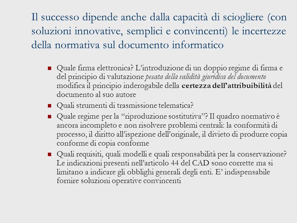 Il successo dipende anche dalla capacità di sciogliere (con soluzioni innovative, semplici e convincenti) le incertezze della normativa sul documento informatico Quale firma elettronica.