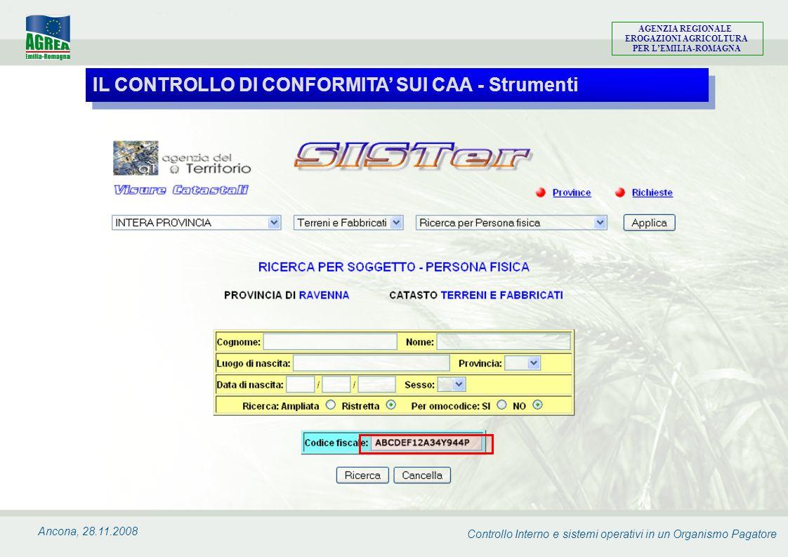 Controllo Interno e sistemi operativi in un Organismo Pagatore AGENZIA REGIONALE EROGAZIONI AGRICOLTURA PER LEMILIA-ROMAGNA Ancona, 28.11.2008 IL CONT
