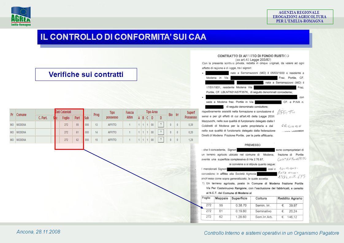 Controllo Interno e sistemi operativi in un Organismo Pagatore AGENZIA REGIONALE EROGAZIONI AGRICOLTURA PER LEMILIA-ROMAGNA Ancona, 28.11.2008 Verific