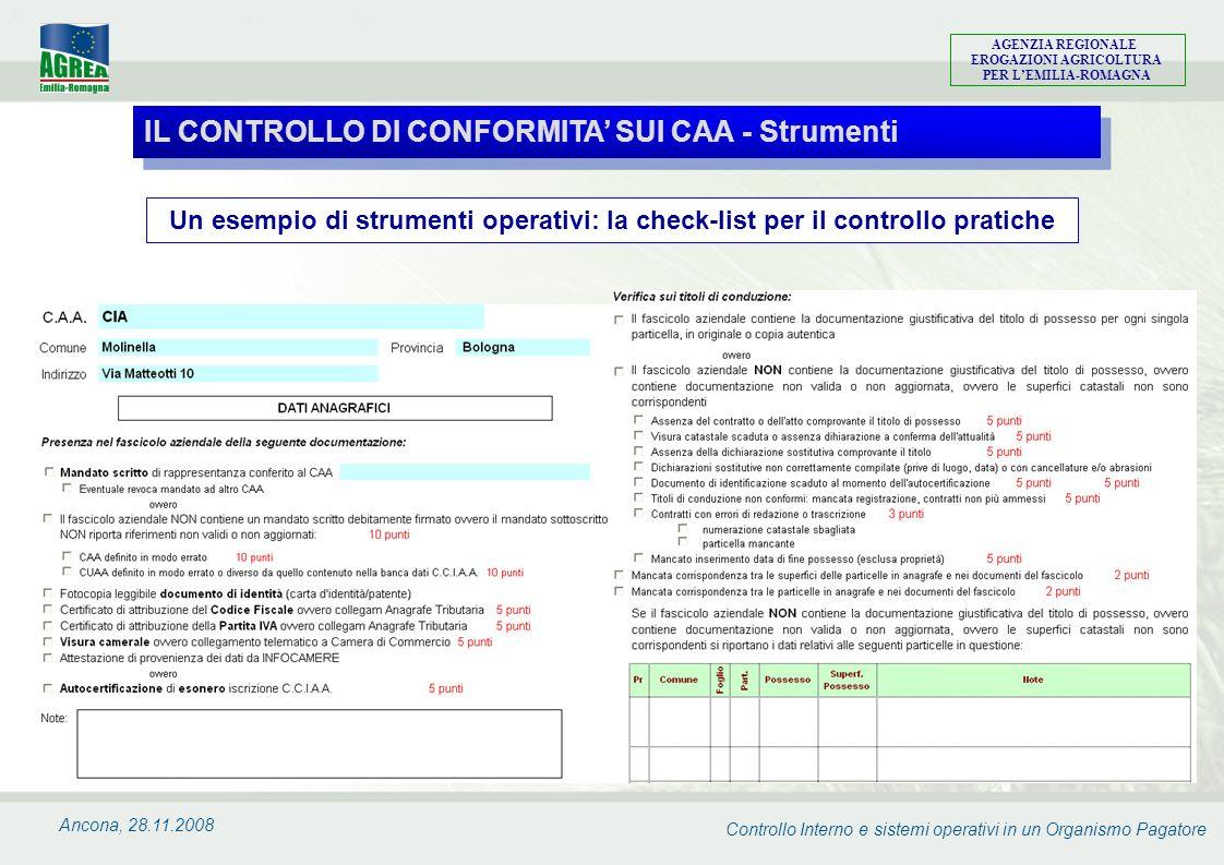 Controllo Interno e sistemi operativi in un Organismo Pagatore AGENZIA REGIONALE EROGAZIONI AGRICOLTURA PER LEMILIA-ROMAGNA Ancona, 28.11.2008 Un esem