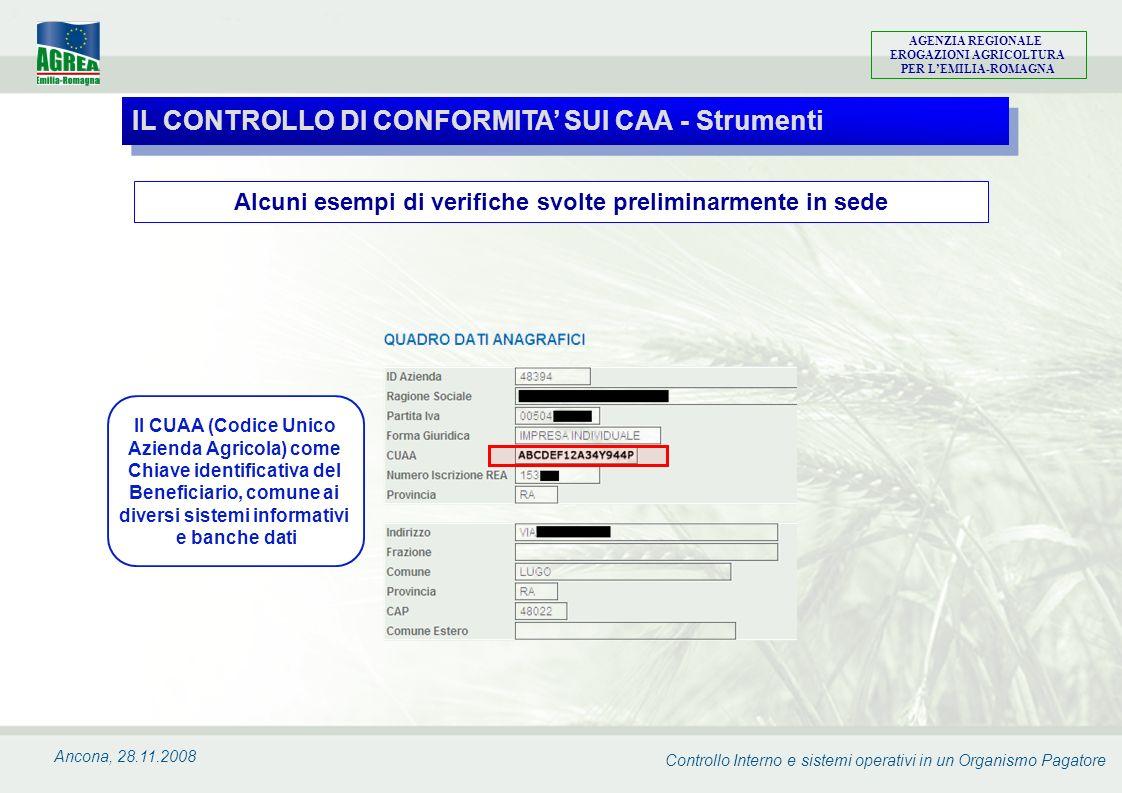 Controllo Interno e sistemi operativi in un Organismo Pagatore AGENZIA REGIONALE EROGAZIONI AGRICOLTURA PER LEMILIA-ROMAGNA Ancona, 28.11.2008 Alcuni