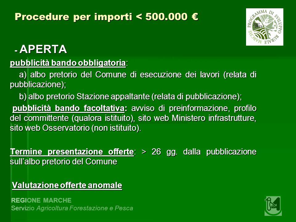 REGIONE MARCHE Servizio Agricoltura Forestazione e Pesca Procedure per importi < 500.000 Procedure per importi < 500.000 - APERTA - APERTA pubblicità