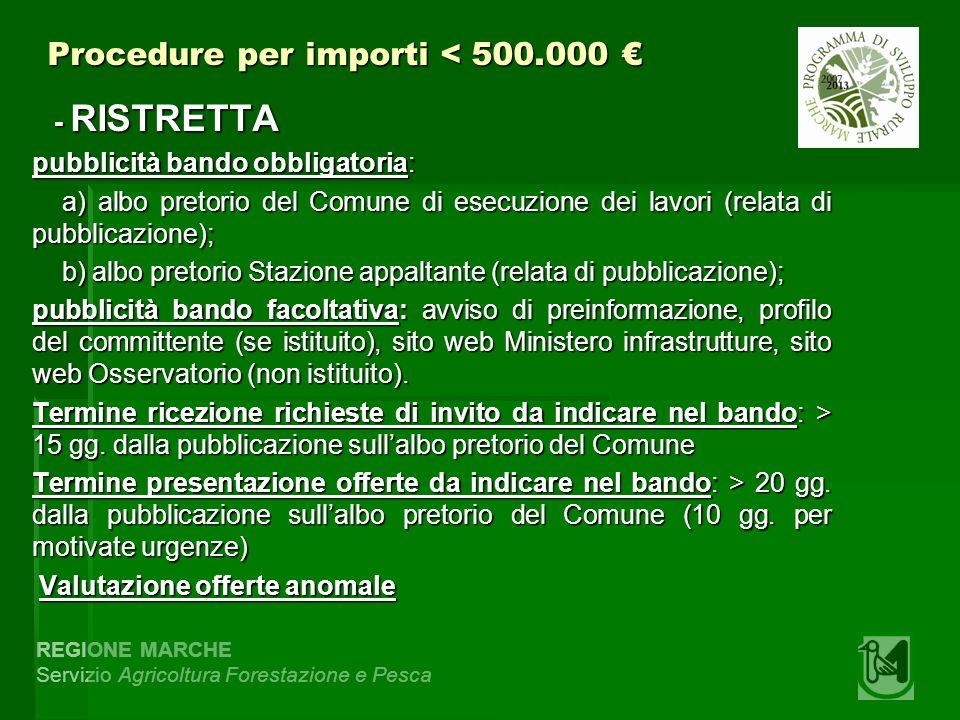 REGIONE MARCHE Servizio Agricoltura Forestazione e Pesca Procedure per importi < 500.000 Procedure per importi < 500.000 - RISTRETTA - RISTRETTA pubbl