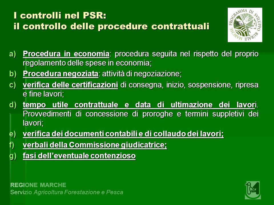 REGIONE MARCHE Servizio Agricoltura Forestazione e Pesca I controlli nel PSR: il controllo delle procedure contrattuali a)Procedura in economia: proce