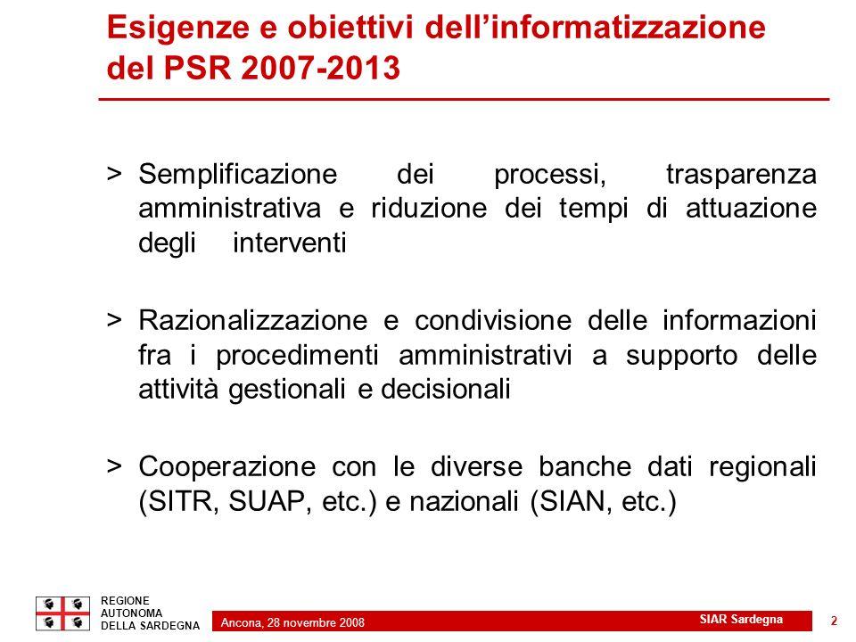 Ancona, 28 novembre 2008 2 REGIONE AUTONOMA DELLA SARDEGNA SIAR Sardegna 2 >Semplificazione dei processi, trasparenza amministrativa e riduzione dei t