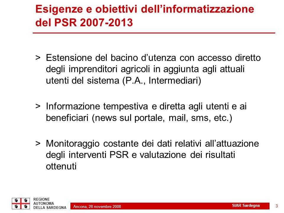 Ancona, 28 novembre 2008 2 REGIONE AUTONOMA DELLA SARDEGNA SIAR Sardegna 3 Esigenze e obiettivi dellinformatizzazione del PSR 2007-2013 >Estensione de