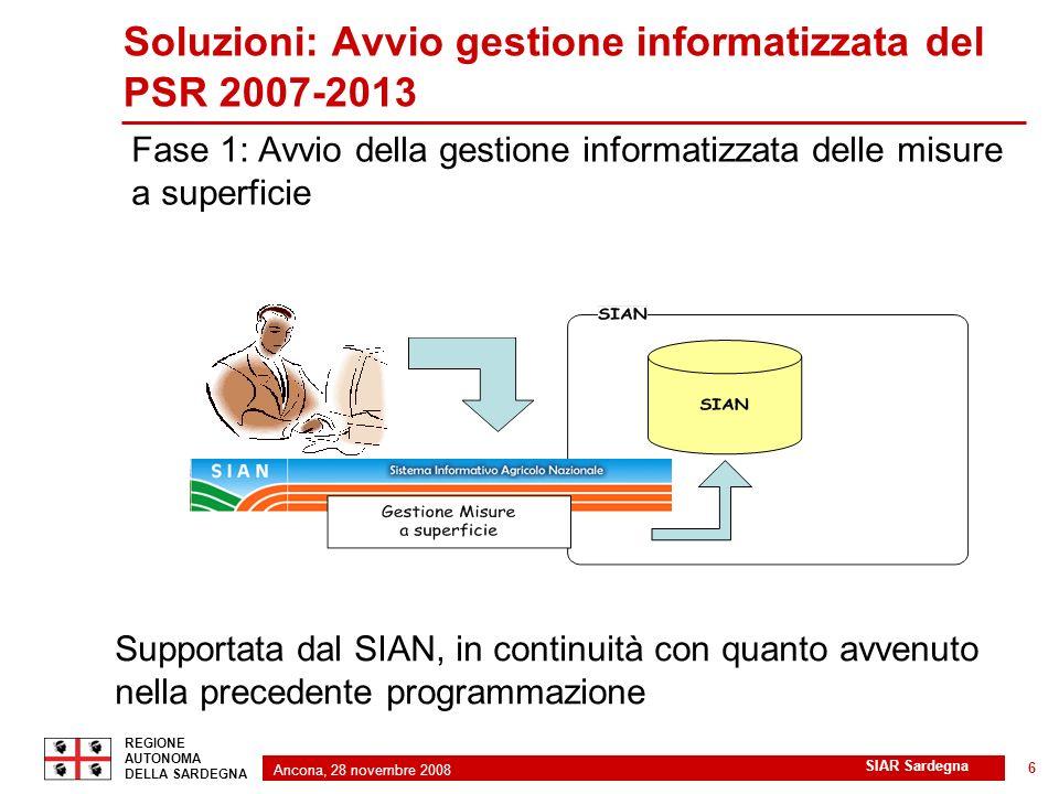 Ancona, 28 novembre 2008 2 REGIONE AUTONOMA DELLA SARDEGNA SIAR Sardegna 6 Soluzioni: Avvio gestione informatizzata del PSR 2007-2013 Fase 1: Avvio de