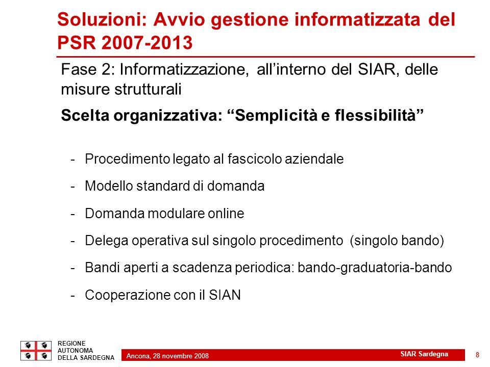 Ancona, 28 novembre 2008 2 REGIONE AUTONOMA DELLA SARDEGNA SIAR Sardegna 8 Soluzioni: Avvio gestione informatizzata del PSR 2007-2013 Scelta organizza
