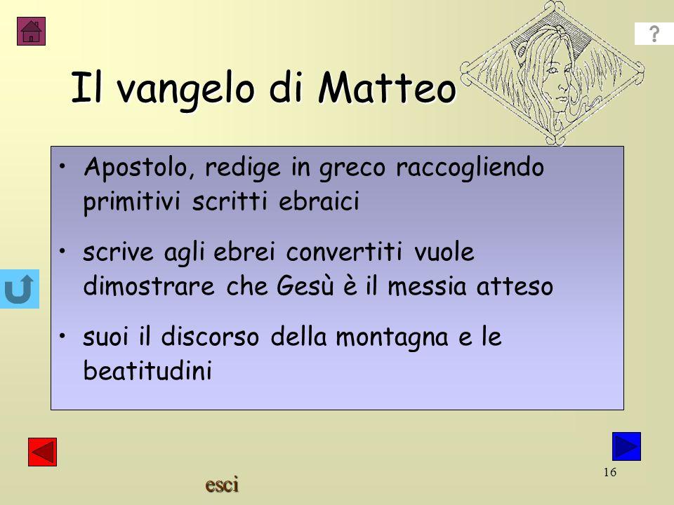 esci 15 Giovanni 100 d.C Matteo 60 d.C Marco 53 d.C Luca 67d.C. Vangeli (la buona notizia: quale?) Sinottici Cosa troviamo nei vangeli? Nella messa