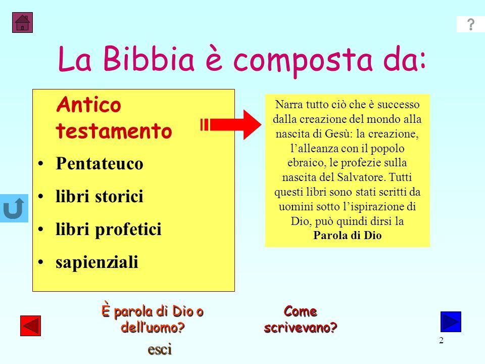 esci 1 Due parole su: La Bibbia è il Libro Sacro dei cristiani, è una parola che deriva dal greco è significa libri: è formata infatti da 73 libri. Si