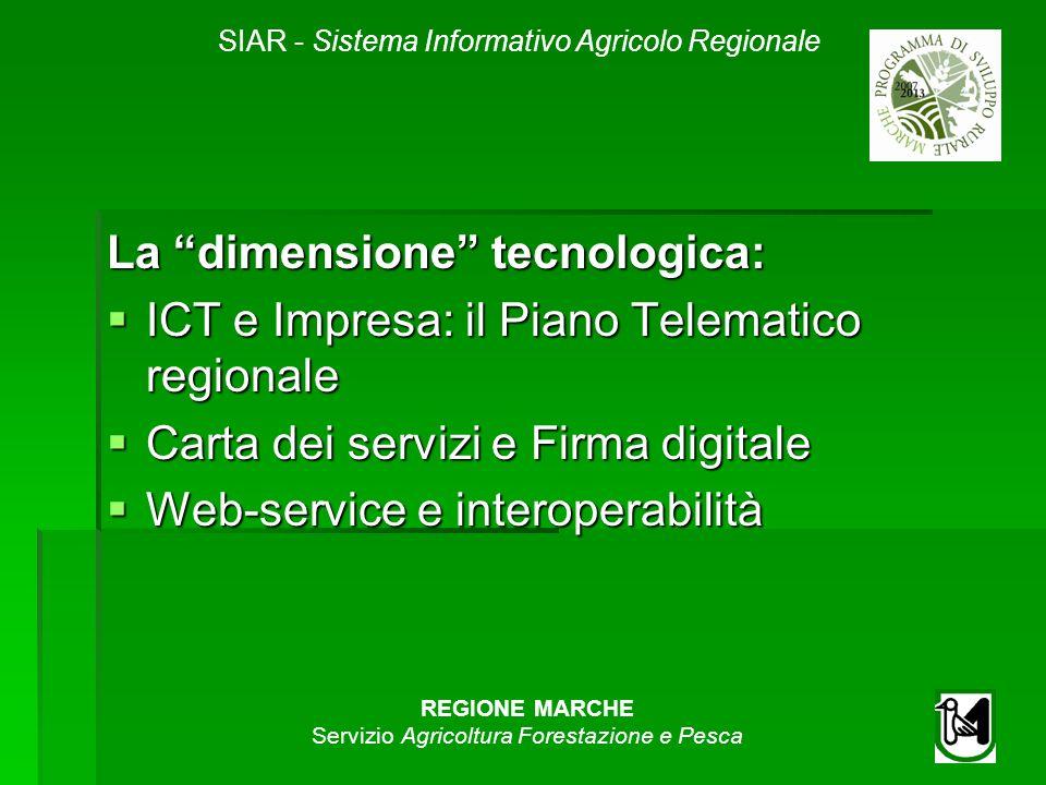 SIAR - Sistema Informativo Agricolo Regionale REGIONE MARCHE Servizio Agricoltura Forestazione e Pesca La dimensione tecnologica: ICT e Impresa: il Pi