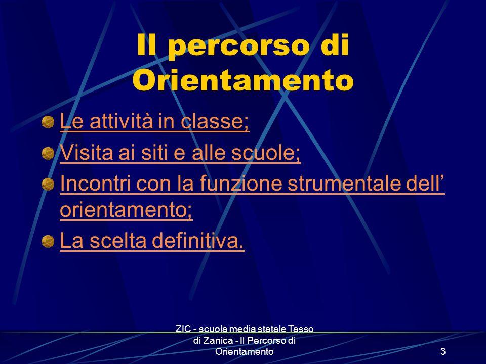 ZIC - scuola media statale Tasso di Zanica - Il Percorso di Orientamento4 Le attività in classe Obbiettivi; Organizzazione; Fasi dell attività; Osservazione e valutazione