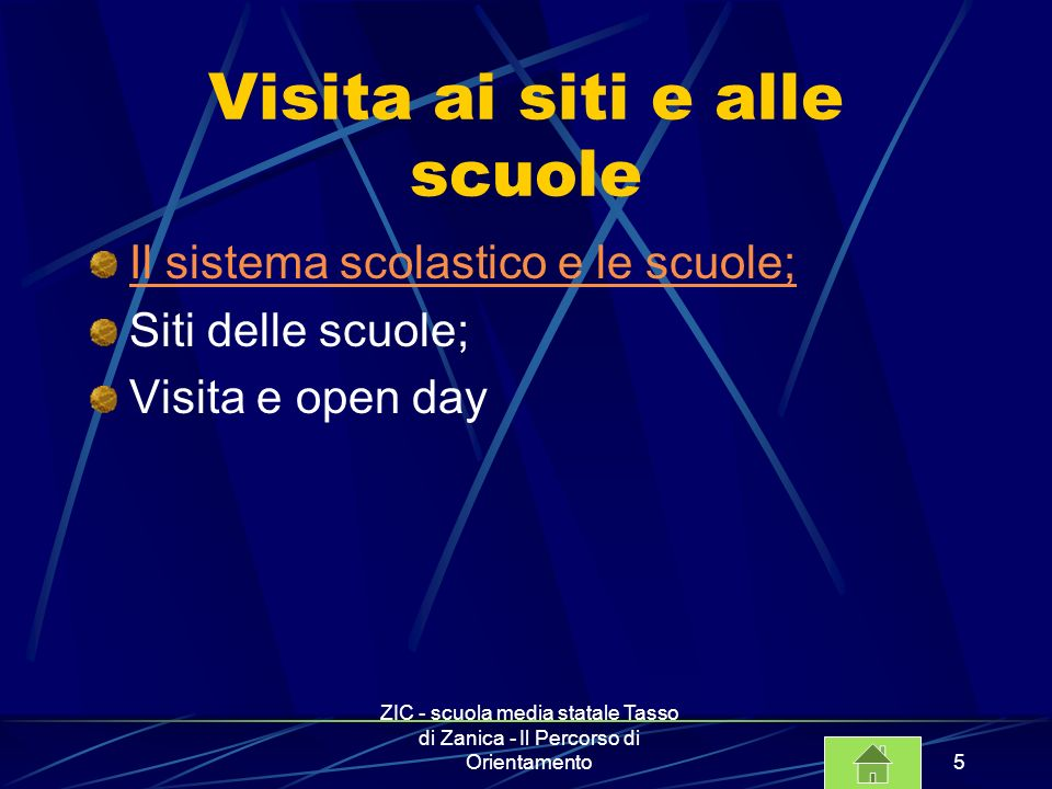 ZIC - scuola media statale Tasso di Zanica - Il Percorso di Orientamento6 Incontri con la funzione strumentale Attività; Osservazioni e valutazione