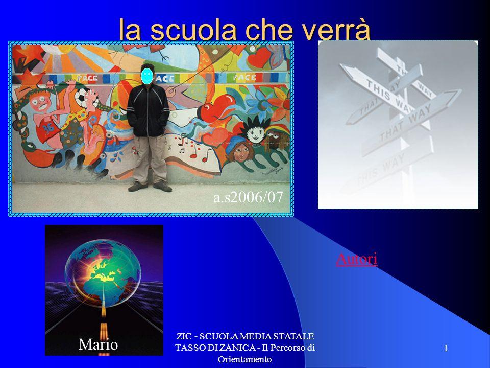 ZIC - SCUOLA MEDIA STATALE TASSO DI ZANICA - Il Percorso di Orientamento 1 la scuola che verrà Mario a.s2006/07 Autori