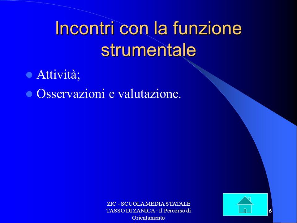 ZIC - SCUOLA MEDIA STATALE TASSO DI ZANICA - Il Percorso di Orientamento 6 Incontri con la funzione strumentale Attività; Osservazioni e valutazione.