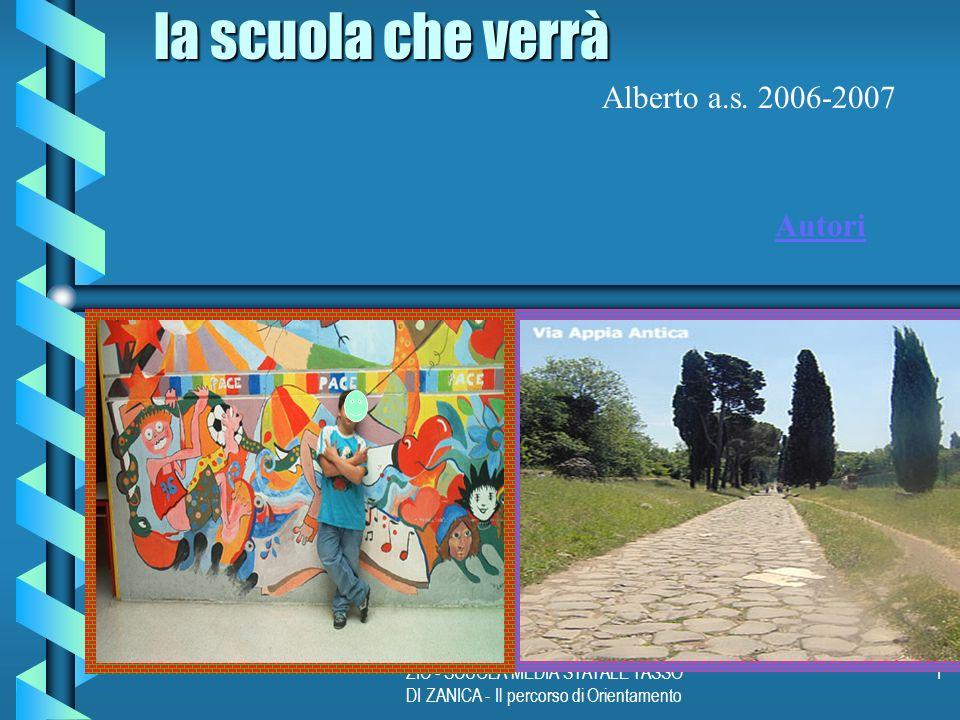 ZIC - SCUOLA MEDIA STATALE TASSO DI ZANICA - Il percorso di Orientamento 1 la scuola che verrà Alberto a.s.