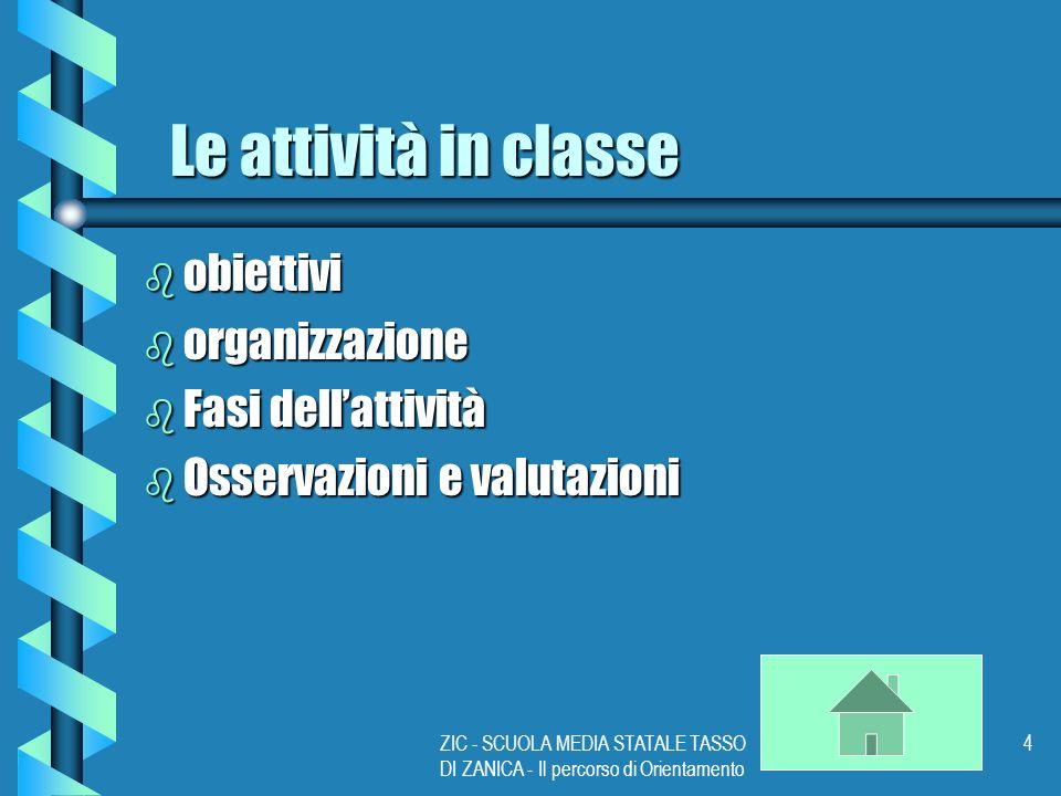 ZIC - SCUOLA MEDIA STATALE TASSO DI ZANICA - Il percorso di Orientamento 4 Le attività in classe b obiettivi b organizzazione b Fasi dellattività b Osservazioni e valutazioni