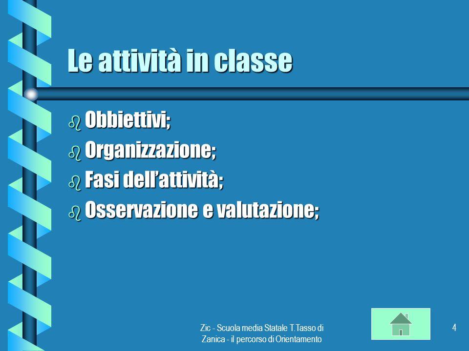 Zic - Scuola media Statale T.Tasso di Zanica - il percorso di Orientamento 4 Le attività in classe b Obbiettivi; b Organizzazione; b Fasi dellattività; b Osservazione e valutazione;