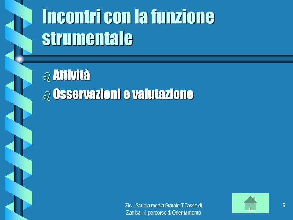 Zic - Scuola media Statale T.Tasso di Zanica - il percorso di Orientamento 6 Incontri con la funzione strumentale b Attività b Osservazioni e valutazione