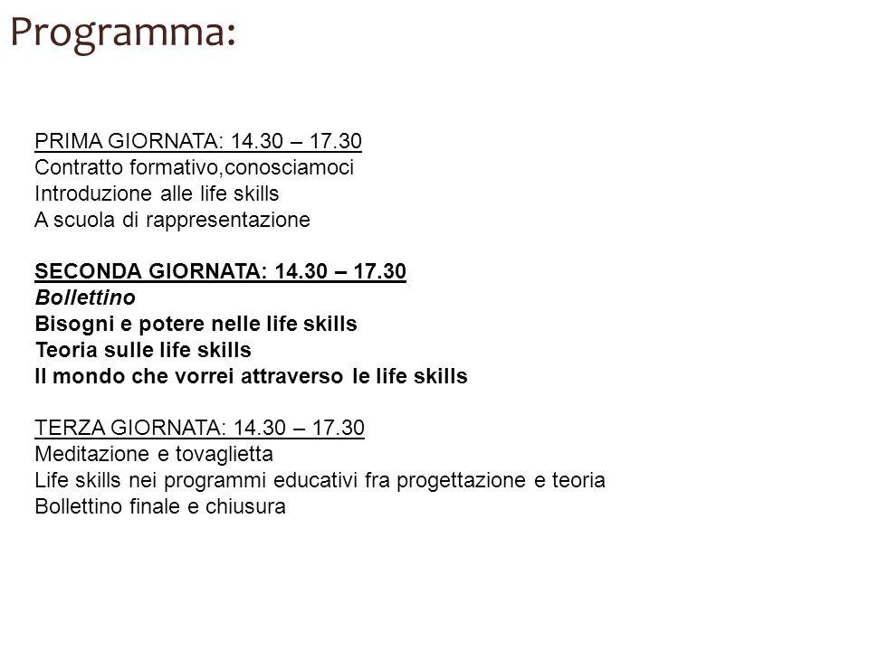 Programma: PRIMA GIORNATA: 14.30 – 17.30 Contratto formativo,conosciamoci Introduzione alle life skills A scuola di rappresentazione SECONDA GIORNATA: