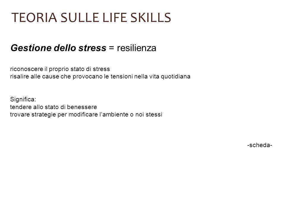TEORIA SULLE LIFE SKILLS Gestione dello stress = resilienza riconoscere il proprio stato di stress risalire alle cause che provocano le tensioni nella
