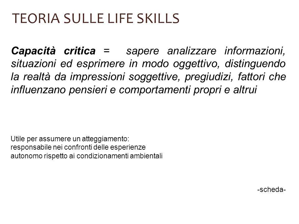 TEORIA SULLE LIFE SKILLS Capacità critica = sapere analizzare informazioni, situazioni ed esprimere in modo oggettivo, distinguendo la realtà da impre