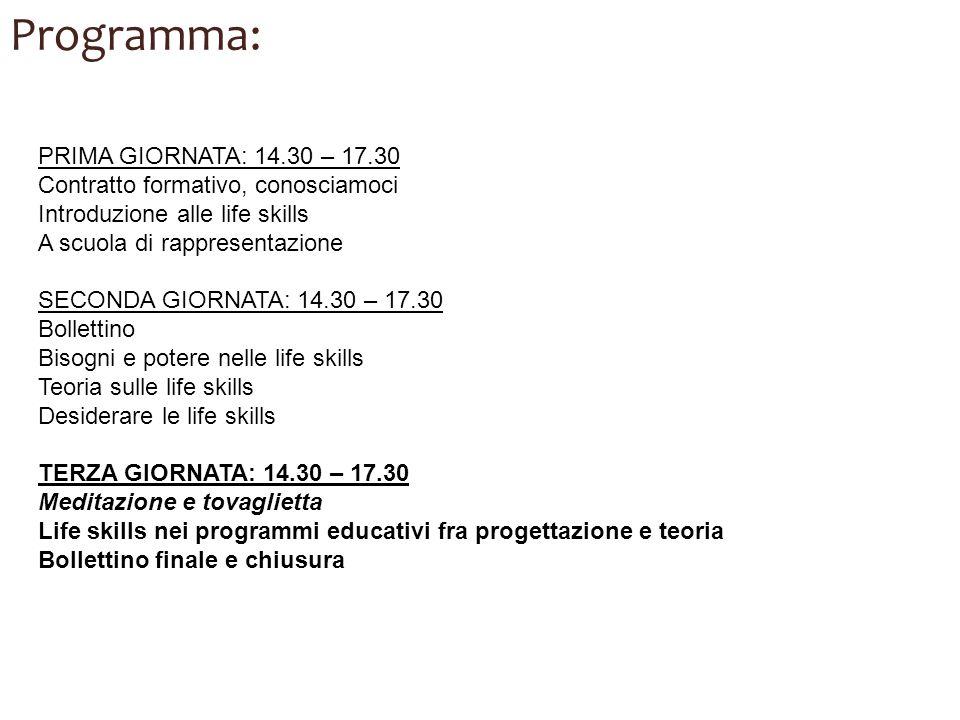 Programma: PRIMA GIORNATA: 14.30 – 17.30 Contratto formativo, conosciamoci Introduzione alle life skills A scuola di rappresentazione SECONDA GIORNATA