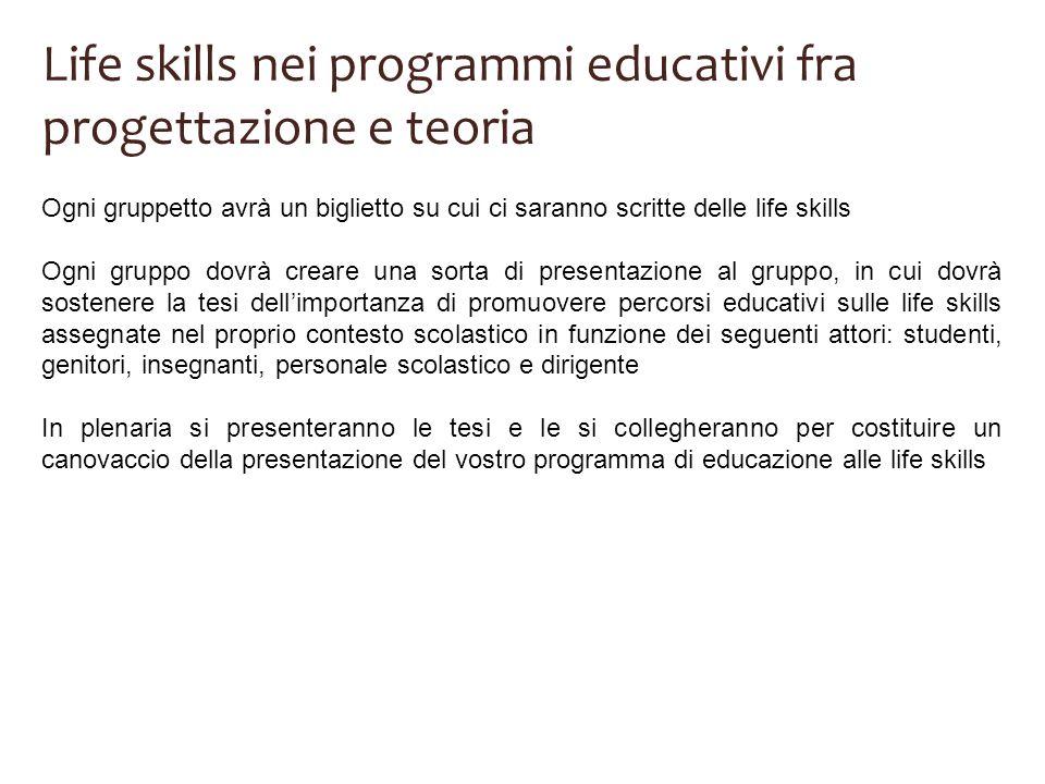 Life skills nei programmi educativi fra progettazione e teoria Ogni gruppetto avrà un biglietto su cui ci saranno scritte delle life skills Ogni grupp