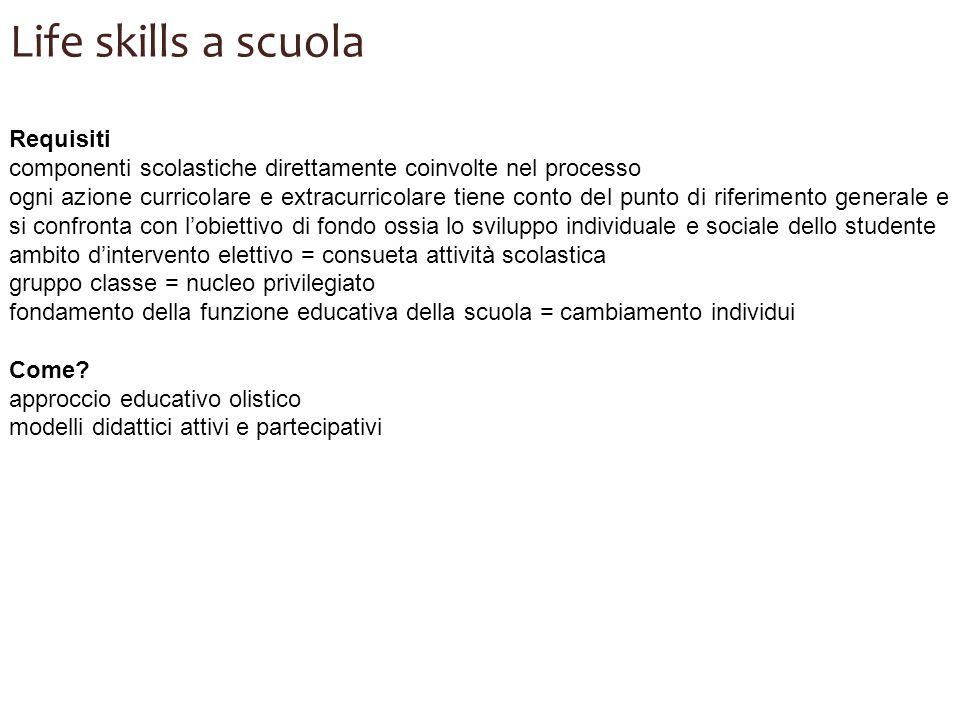 Life skills a scuola Requisiti componenti scolastiche direttamente coinvolte nel processo ogni azione curricolare e extracurricolare tiene conto del p