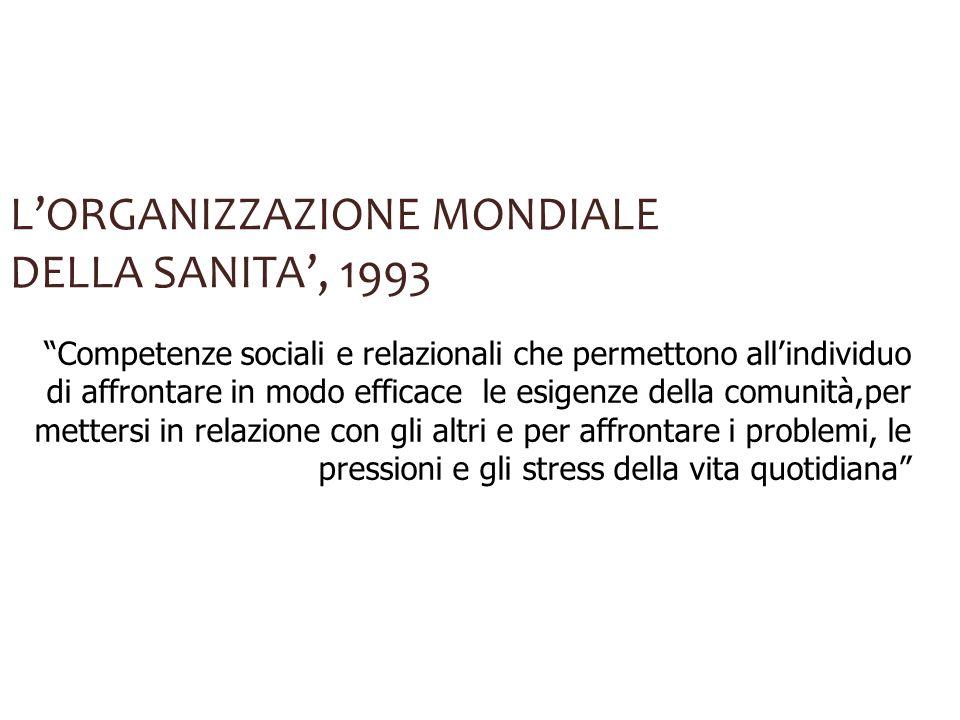 LORGANIZZAZIONE MONDIALE DELLA SANITA, 1993 Competenze sociali e relazionali che permettono allindividuo di affrontare in modo efficace le esigenze de