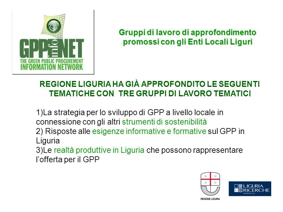 REGIONE LIGURIA HA GIÀ APPROFONDITO LE SEGUENTI TEMATICHE CON TRE GRUPPI DI LAVORO TEMATICI 1)La strategia per lo sviluppo di GPP a livello locale in