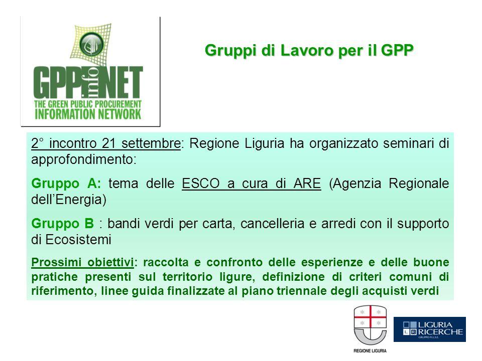 2° incontro 21 settembre: Regione Liguria ha organizzato seminari di approfondimento: Gruppo A: tema delle ESCO a cura di ARE (Agenzia Regionale dellE