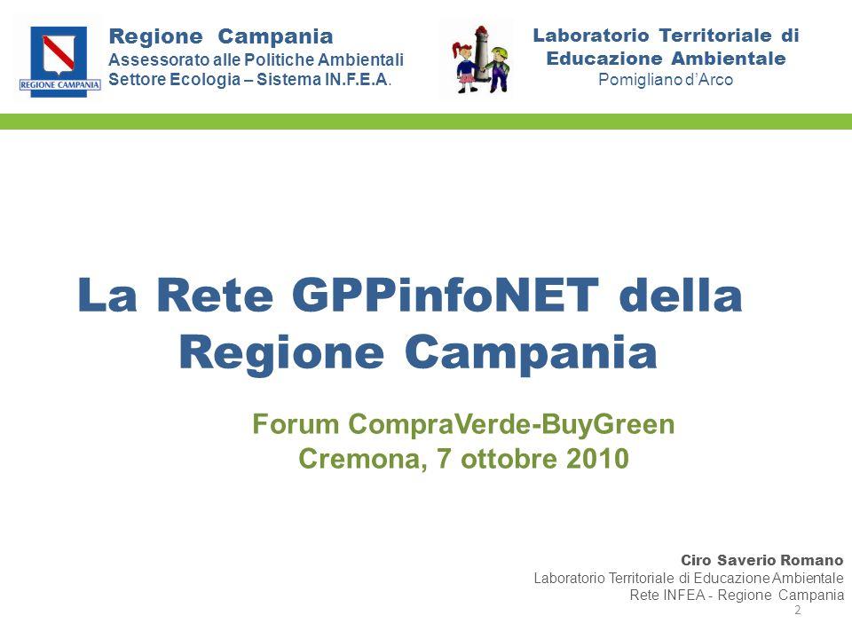 La Rete GPPinfoNET della Regione Campania Assessorato alle Politiche Ambientali Settore Ecologia – Sistema IN.F.E.A. Ciro Saverio Romano Laboratorio T