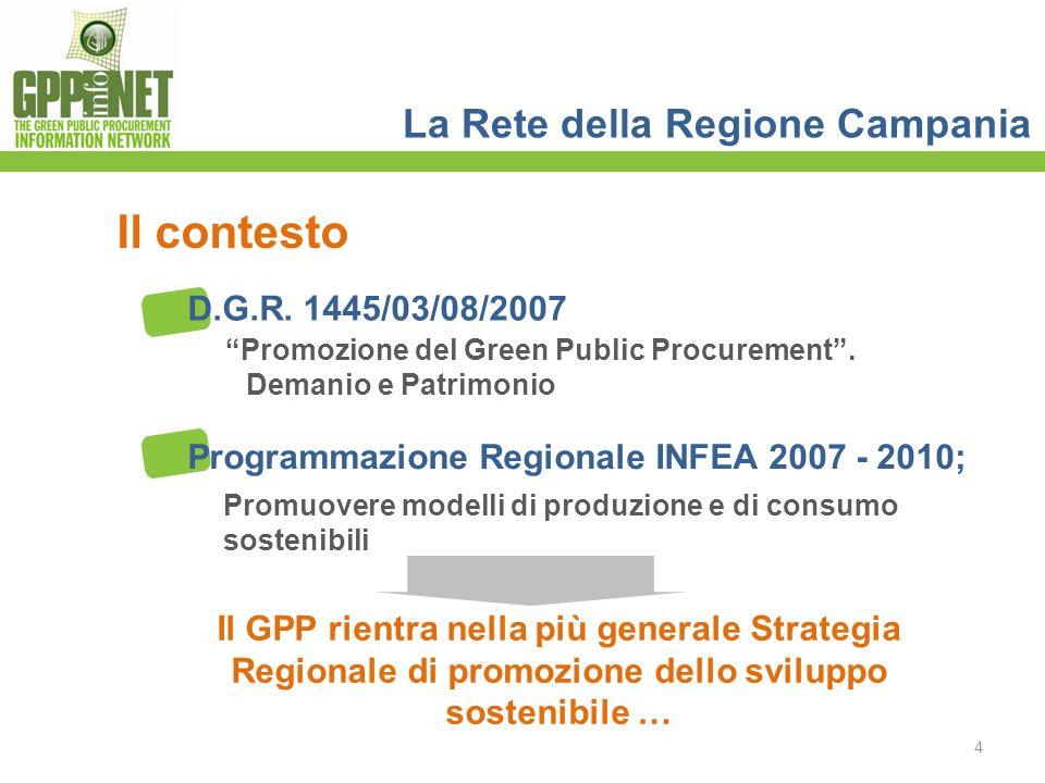 La Rete della Regione Campania Il contesto Il GPP rientra nella più generale Strategia Regionale di promozione dello sviluppo sostenibile … D.G.R. 144